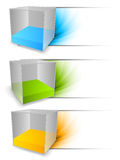 Set of banners with cubes Stock Photography