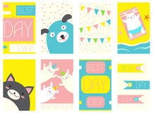 Set of banners with cute animals stock illustration