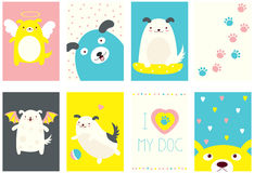 Set of banners with cute dogs Stock Photo