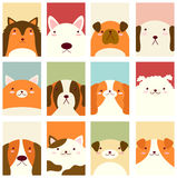 Set of banners with cute dogs. Banner, background, flyer, placard in hand drawn style with cute dogs. Poster for scrapbooking. Vector template card for greeting Stock Images