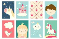 Set of banners with cute fairy-tale characters Royalty Free Stock Photos