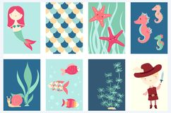 Set of banners with cute fairy-tale characters Royalty Free Stock Photography