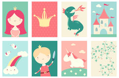 Set of banners with cute fairy-tale characters Stock Photo