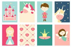 Set of banners with cute fairy-tale characters Stock Images