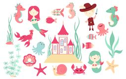 Set of banners with cute fairy-tale characters. Set of cute fairy-tale characters - mermaid, fish, octopus, crab, castle, pirate and sea horse. Paper doll vector Royalty Free Stock Photos