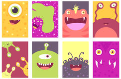 Set of banners with cute monsters Royalty Free Stock Images