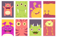 Set of banners with cute monsters Stock Photos