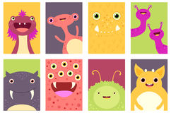 Set of banners with cute monsters Stock Photography
