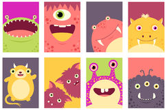 Set of banners with cute monsters Royalty Free Stock Photography