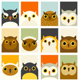 Set of banners with cute owls Stock Image