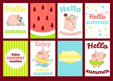 Set of banners with cute pigs Royalty Free Stock Photography