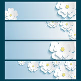 Set of banners with 3d stylish flowers sakura Stock Photos