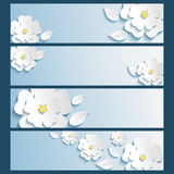 Set of banners with 3d stylized flowers sakura and leaves. Set of stylish trendy banners with 3d blossoming flowers sakura white and leaves isolated over blue Stock Photography