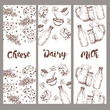Set of banners dairy products, hand drawn, sketches foods. Icons cooking. To design menus, books of recipes, packaging, parts for coloring. Isolated vector stock illustration