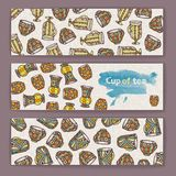 Set of banners with decorative cup of coffee Stock Image