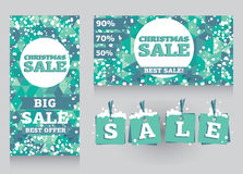 Set of banners and decorative elements for christmas sales Stock Images