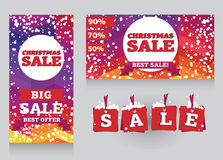 Set of banners and decorative elements for christmas sales Stock Photography