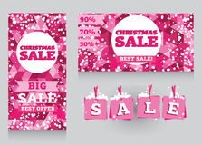 Set of banners and decorative elements for christmas sales Stock Photos