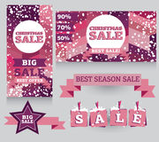 Set of banners and decorative elements for christmas sales Royalty Free Stock Photography