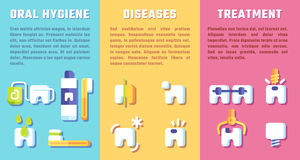 Set of banners with dental information. Oral hygiene, diseases and treatment Stock Image
