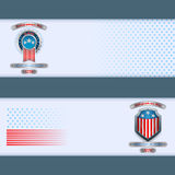 Set of banners design with badge, metallic shield and national flag colors for fourth of July, American Independence Day. Abstract graphic, design web banner Royalty Free Stock Images