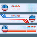 Set of banners design with fourth of July, American Independence Day Royalty Free Stock Photography