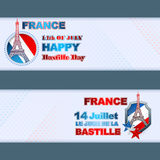 Set of banners design with national flag colors background for France Independence Day. Fourteenth July, Bastille Day French language text; Abstract graphic Stock Photo