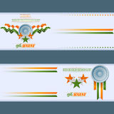 Set of banners design with orange, white and green stars and Ashoka wheel for Celebration of Indian Independence Day. Abstract graphic web banner/header template Stock Photo