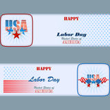 Set of banners design with stars and flags for American Labor Day Royalty Free Stock Image