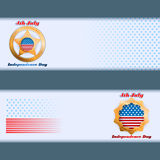 Set of banners design with stars on national flag colors for fourth of July, American Independence Day Stock Photos