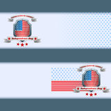 Set of banners design with stars on national flag for fourth of July, American Independence Day Stock Photography