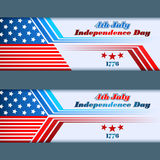 Set of banners design with stars on national flag  for fourth of July, American Independence Day Stock Image