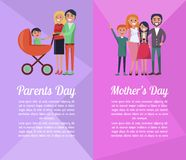 Set of Banners Devoted to Parents , Mother s Days. Set of banners devoted to Parents and Mother s Days. Vector illustration of happy families spending time Stock Photo
