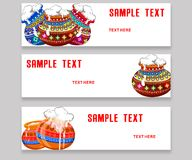 Set of banners with different colorful pot For South Indian festival happy pongal.  Stock Photography