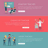 Set of Banners with Different Teaches Professions vector illustration