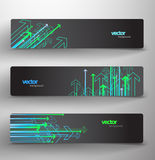 Set of banners with directional arrows. Illustrated set of three black banners with neon arrows pointing in different directions and copy space Royalty Free Stock Image