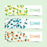 Set of banners with DNA molecule background. Genome Royalty Free Stock Photography