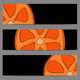 Set of banners with doodle oranges Royalty Free Stock Photos