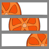 Set of banners with doodle oranges Stock Images