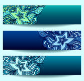 Set banners   with doodle starfishes Stock Photo