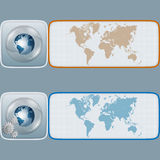 Set of banners with earth globe in glass button/sphere and world map Royalty Free Stock Photo