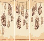 Set of banners with Ehnic feathers Stock Photography