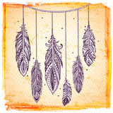 Set of banners with Ehnic feathers Royalty Free Stock Image