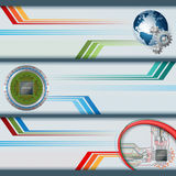 Set of banners with electronic circuits, processor chip and earth globe Royalty Free Stock Photography