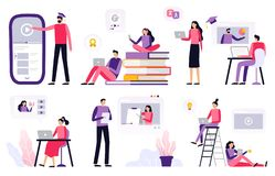 Online education. Women and men working with laptop, watching video and presentation. vector illustration