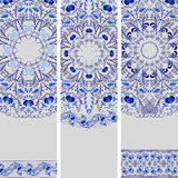 Set of banners in ethnic style. Blue floral pattern. Royalty Free Stock Image