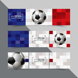 Set of banners for Euro 2016 World FIFA championship Stock Photos