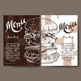 Set of banners of fast food design. Cards with sketch hamburger. Template menu with place for text for cafe Royalty Free Stock Photos