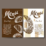 Set of banners of fast food design. Cards with sketch taco. Template menu with place for text for cafe Royalty Free Stock Photography