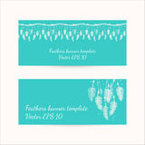 Set of banners with feathers design Royalty Free Stock Photography
